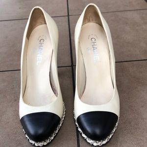 Chanel silver chain ivory black heels